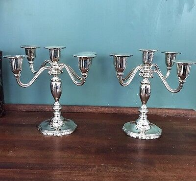 Set 2 Vintage Silver Plated 5 Arm Candelabra Paul Revere 1552 In Box