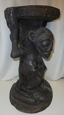 """ANTIQUE LUBA CARYATID, FEMALE FORM AFRICAN ART, CARVED WOOD STOOL, 10"""" x 18.5"""""""