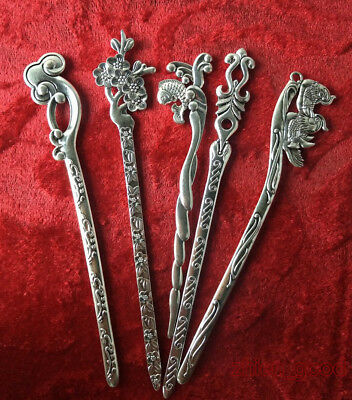 Chinese old Miao silver Hairpin manual Exquisite Sculpture Ponytail CZW47