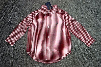 Ralph Lauren Toddler Boys Red & White Long Sleeve Shirt - Size 2T - NWT