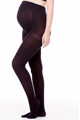 BeMATERNITY by INGRID & ISABEL MATERNITY CHEVRON PATTERNED TIGHTS (black)