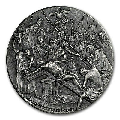 2017 Biblical Series Nailing Christ To The Cross 2 oz .999 Silver Antiqued Coin