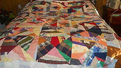 Vintage Colorful Material Quilt Top~70X75~Machine Sewn