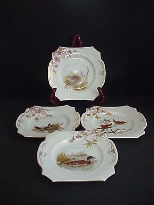 Antique German Porcelain Game Bird Plates Lot 4 Tab Handles