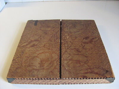 Antique Pyrography Handkerchief Holder Box