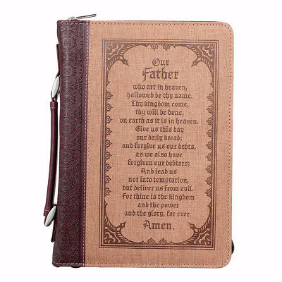 Bible Cover-Classic LuxLeather-Our Father-Medium-Tan