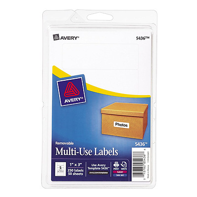 Avery Removable Print/Write Labels, 1 X 3 Inches, White, Pack Of 250 (5436)