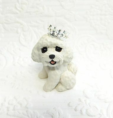 Bichon Frise with Crown Polymer Clay Hand Sculpted dog mini by Raquel Torres