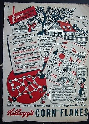 Vtg. 1940's FUN WITH THE KELLOGG KIDS cereal box cut out