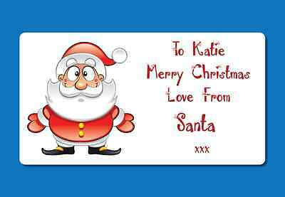 72 Personalised Christmas Present Labels Stickers From Santa Custom Names