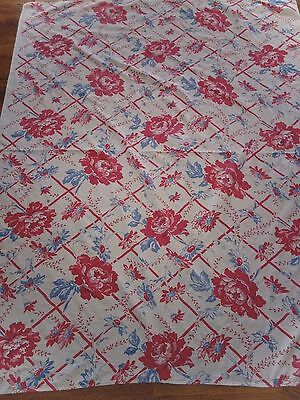 Vintage Tablecloth Red Flowers Red White & Blue  Colors
