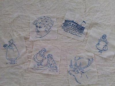 Early Hand Embroidered Quilt Blocks Blue Thread