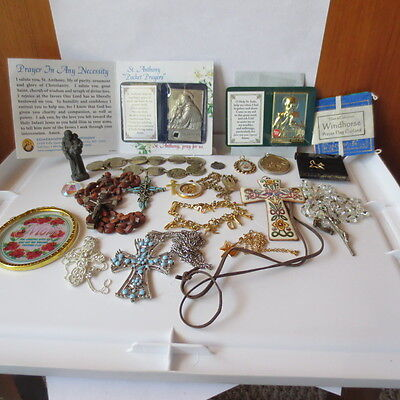 Lot of mostly vintage religious items Rosary, Medals, Jewelry