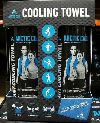"Arctic Cool Instantly Cooling Towels 3Step Cooling Activation 2pack Blue 12""x33"""