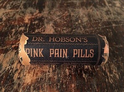 Dr. Hobson's Pink Pain Pills - Antique Circa 1910 Unopened Pharmacy Packaging