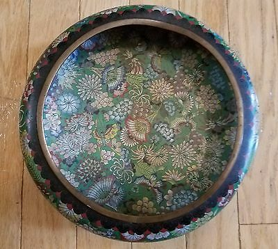 """Large 12"""" Antique Chinese Cloisonne Bowl - Intricate Design - Marked"""