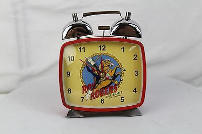 Vintage Schylling Roy Rogers and Trigger Red Square Face Wind Up Alarm CLock