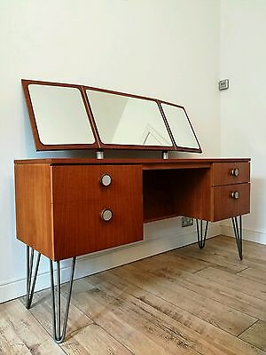 Vintage Mid Century Modern Teak Dressing Table / Desk Hairpin Legs Modernist