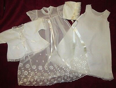 Vintage Christening gown 4 pieces Gown Slip Jacket Hat, lace, embroidery 0-3 mo.