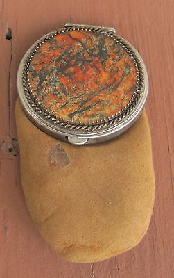 Estate Antique Victorian Era Leather Suede Coin Purse Glass Lid