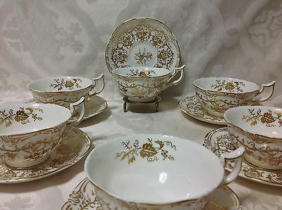 1950 6ct ea Beautiful Coalport Cups/Saucers, Queens Plate Pat; Gold/White, Great