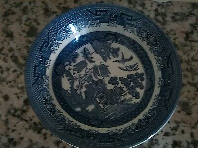 Church Hill Blue & White Willow Pattern Soup Bowl Vintage Willow
