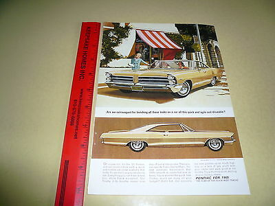 1965 Pontiac Full Size Hardtop Ad Advertisement Vintage Wide-Track