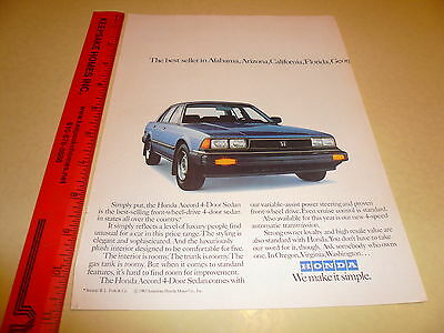 1983 Honda Accord 4 Door Sedan Blue Ad Advertisement - Vintage