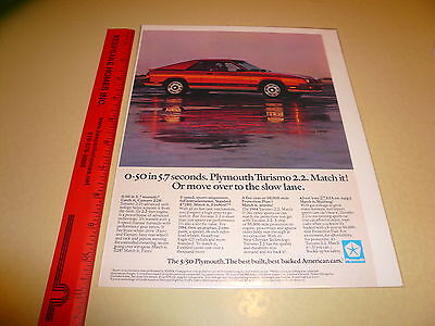 1984 Plymouth Turismo 2.2. Ad Advertisement Vintage