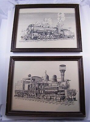 Vintage Jack Bundy ~ Pen And Ink Train Drawings ~ Comox Logging / 3601