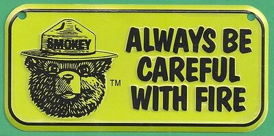USFS US Forest Service Smokey Bear Yellow Bicycle License Plate Metal Sign