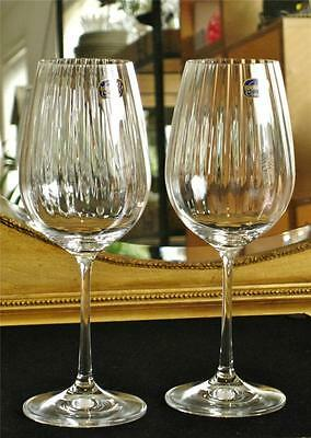 """Pair of high quality Bohemia Crystal """"Cascade"""" Wine glasses. NEW"""