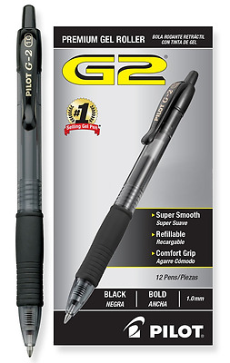 Pilot G2 Retractable Premium Gel Ink Roller Ball Pens, Bold Point, Black Ink,.