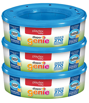 Playtex Diaper Genie Refill, 270 Count, Pack of 3, New, Free Shipping.