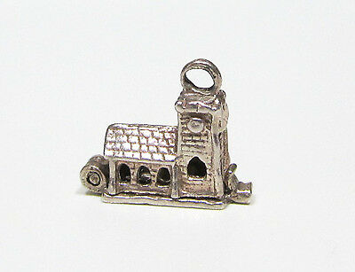 Vintage Movable 3D Church Open Bible Inside Sterling Silver Charm, Tiny
