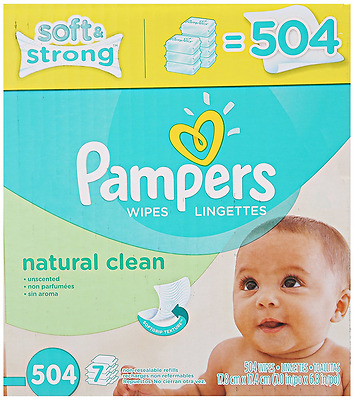Pampers Natural Clean Wipes 7x Box 504 Count, New, Free Shipping.