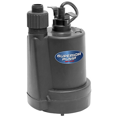 Superior Pump 1/4 HP Thermoplastic Submersible Utility Pump, 91250, New.