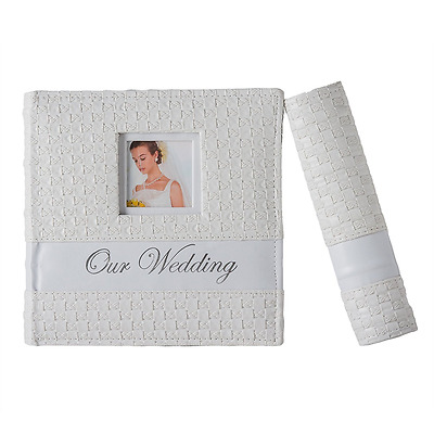 Wedding Photo Album Premium Leatherette White Cover Holds 200 4x6 inch photos.