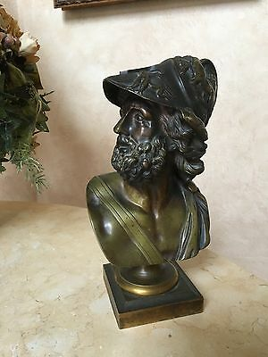 19c Bronze Bust of Ajax Turning to Dexter, ATTRIBUTED TO BENEDETTO BOSCHETTI