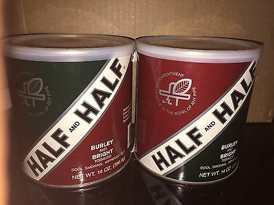 HALF  HALF, BURLEY,  BRIGHT, Pipe,  Tobacco Can Green White Red Round Can Sealed