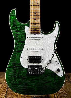 Suhr Standard Custom Quilted Maple/Roasted Maple Electric Guitar - Trans Green