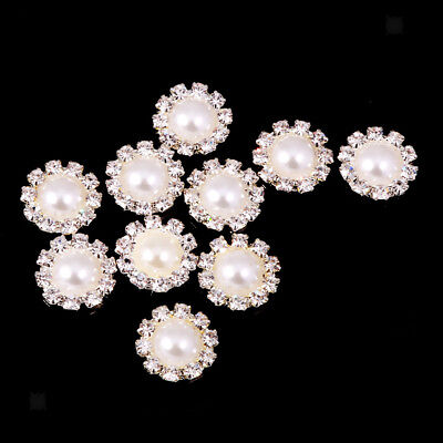 10pcs Bling Flower Crystal Pearl Flatback Buttons Sewing Clothes Decor 13mm
