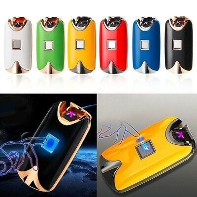 Fingerprint Touch USB Rechargeable Dual Arc Flameless Plasma Electric Lighter