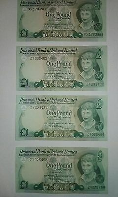 Set Of 4 Provincial Bank of Ireland Limited One Pound Bank Notes