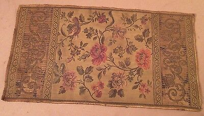 antique ornate embroidered centerpiece table mat runner floral needlepoint 20 in
