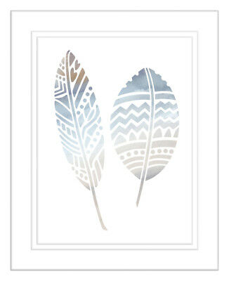 NEW Natural Feathers Four of Five Watercolour Silhouette Print
