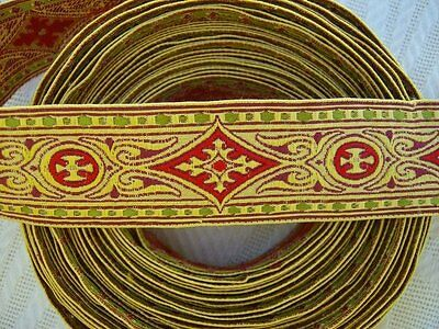 FAB Antique VICTORIAN Art Deco WOVEN TRIM 7 yds 24 in. x 1 RED DIAMOND Pattern