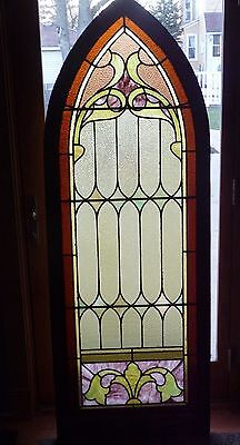 Antique Arch Stained Glass Window Awesome beautiful wood frame Leaded Church?