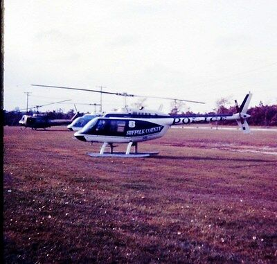 Slide 1974 Suffolk Co Police New York Bell 206B Jet Ranger Helicopters