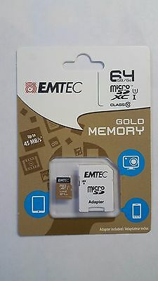 Emtec 64 GB Micro SD Card  SDXC  Class 10 45MB with SD adapter - New sealed